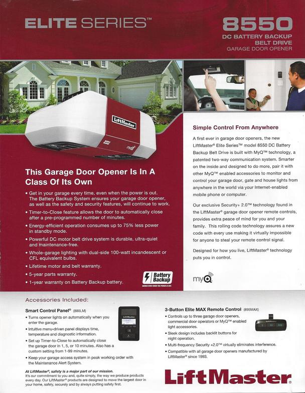 Garage Door Opener Model 8550 1/2 HP Belt Drive With Battery Back Up System